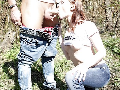 Girl gives blowjob in public place